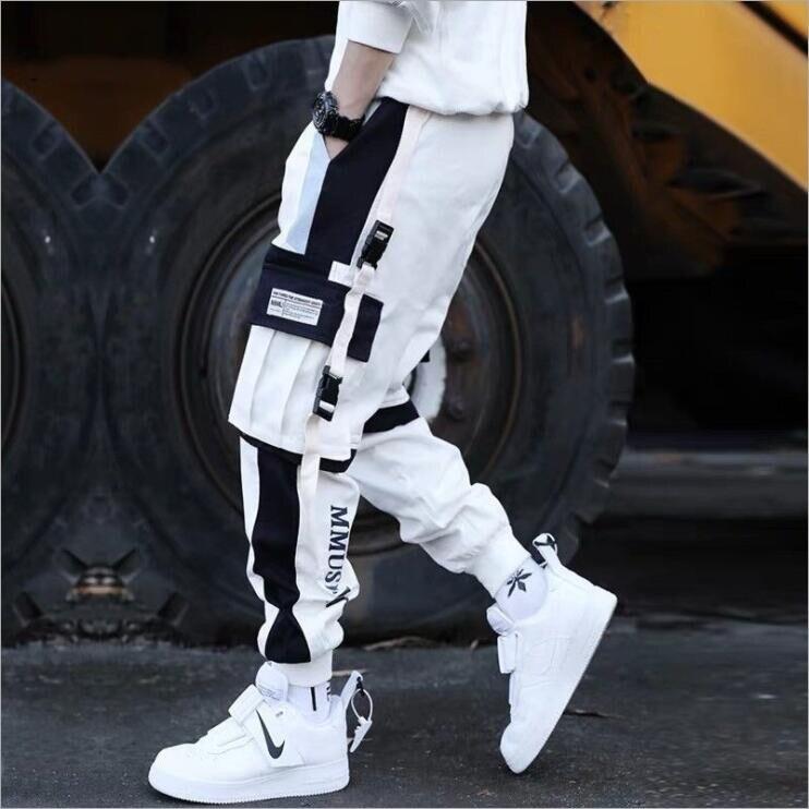 Fashion Streetwear Men's Multi Pockets Cargo Harem Pants Hip Hop Casual Male Pants Joggers Trousers