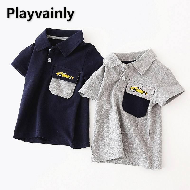 camiseta polo bordada de bolso de algodao infantil camiseta de manga curta de verao