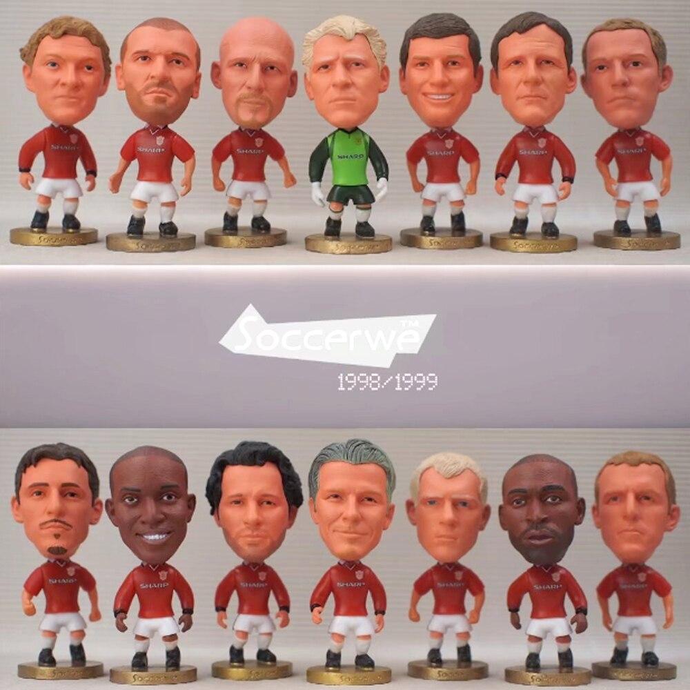 14 pçs/lote Keane Beckham Giggs Scholes Schmeichel Bonecas de Resina Estatueta