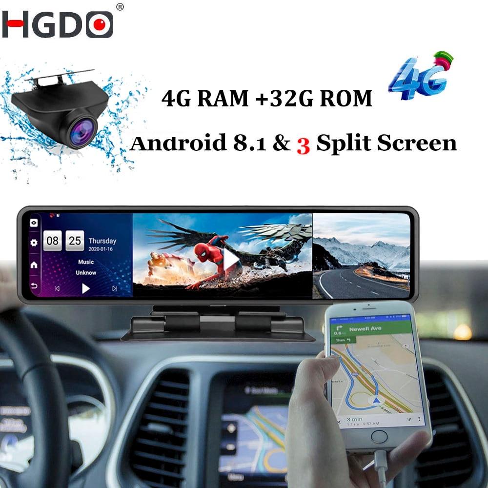 Зеркало заднего вида с видеорегистратором HGDO, 12 дюймов, 4G, Android 8,1, 4 Гб ОЗУ, 32 Гб ПЗУ, 1080P, Wi-Fi, GPS