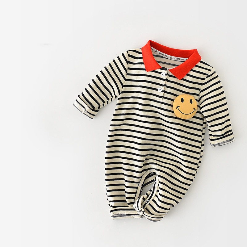 MILANCEL 2021 Autumn New Baby Rompers Toddler Boys Jumpsuits Striped Newborn Clothes Smile Face Baby
