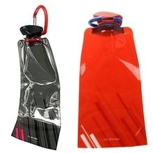 6Pcs 700 ML Foldable Reusable Water Bag Drink Bottle Free BPA Bicycle Bottle Black & Red