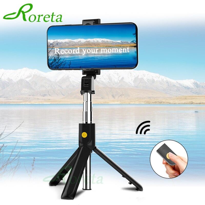 Roreta 2019 nuevo 3 en 1 Wireless Bluetooth Selfie Stick extensible Handheld monopod plegable mini trípode con obturador remoto