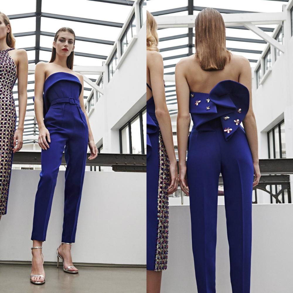 Prom Jumpsuit satén perlas tobillo longitud mujeres pantalones traje vestido de noche personalizado hecho Formal cóctel vestidos de fiesta