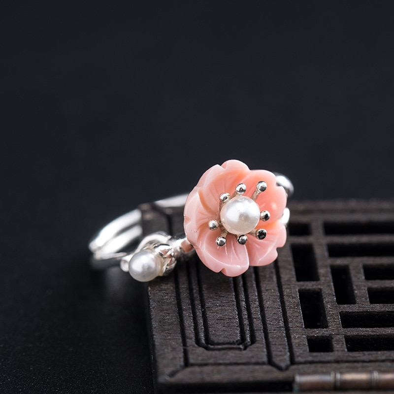Promo Real Freshwater Pearl Queen Shell Cherry Blossoms Open Rings For Women S925 Sterling Silver Chinese Style Female Jewelry