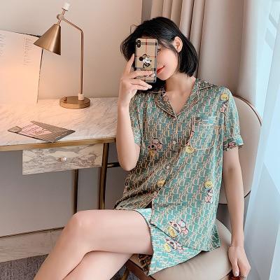 Korean version of the new ladies 2 Pcs Set pajamas & women summer short-sleeved ice silk home leisure cool sleepwear 2 piece set