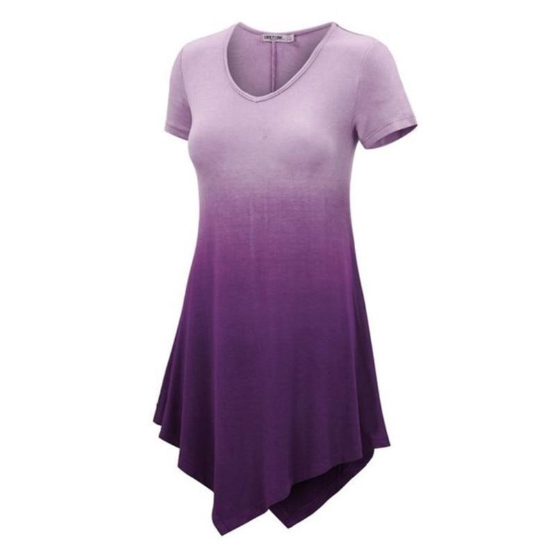 Unregelmäßige Saum Frauen Farbverlauf Druck T-shirt Kurzarm Plus Größe Lose Shirt Tees 3XL 4XL 5XL Weibliche Top T-Shirts femme