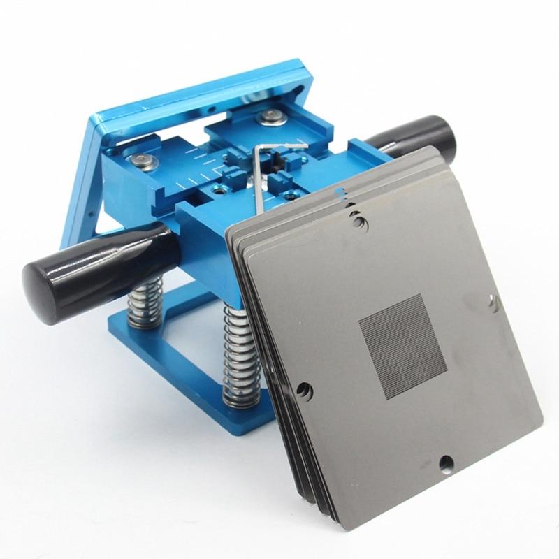 Best Blue Bga Reballing Kit 90x90Mm Bga Reballing Station With Hand Shank 10/Pcs Bga Universal Stencil