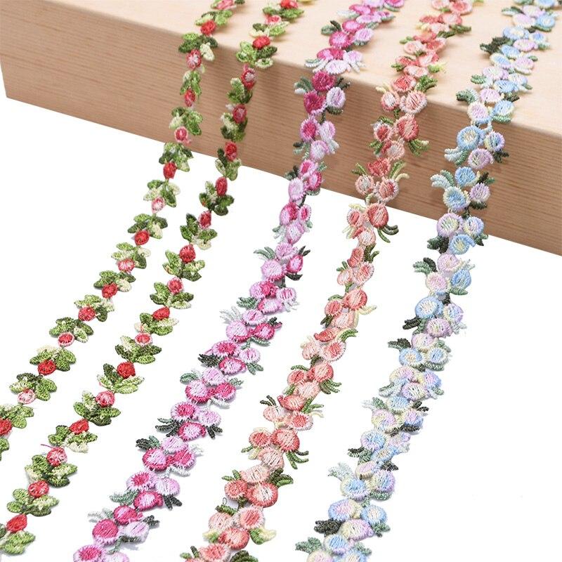 Hermosa cinta de encaje bordada con flores solubles en agua de 2 yardas, tela de corte DIY, accesorios de costura de la Ropa, bordado