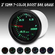 12v 2 polegada 52mm carro turbo medidor de impulso mecânico medidor de imprensa a vácuo-12 barra 7 cor led display indicador len preto