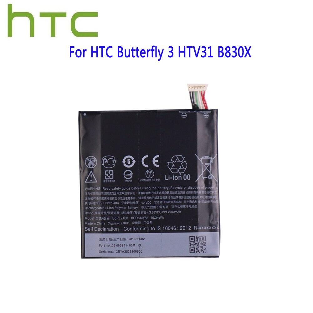 Оригинальный BOPL2100 литий-ионный полимерный аккумулятор высокой емкости для HTC Butterfly 3 HTV31 B830X B0PL2100 2700 мАч