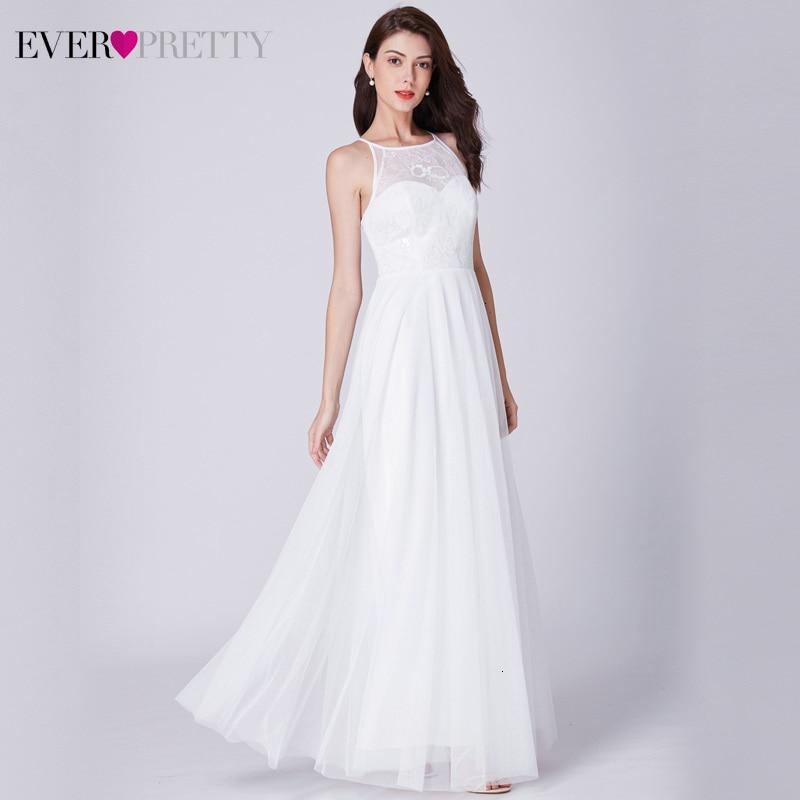 Elegante vestidos de Novia alguna vez bonito Floral de una línea de cuello sin mangas de tul Blanco Simple de la boda Vestido de Novia