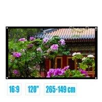 Ecran de Projection Portable en Fiber de verre  120 pouces  16 9  HD  tissu blanc mat  pour Home cinema