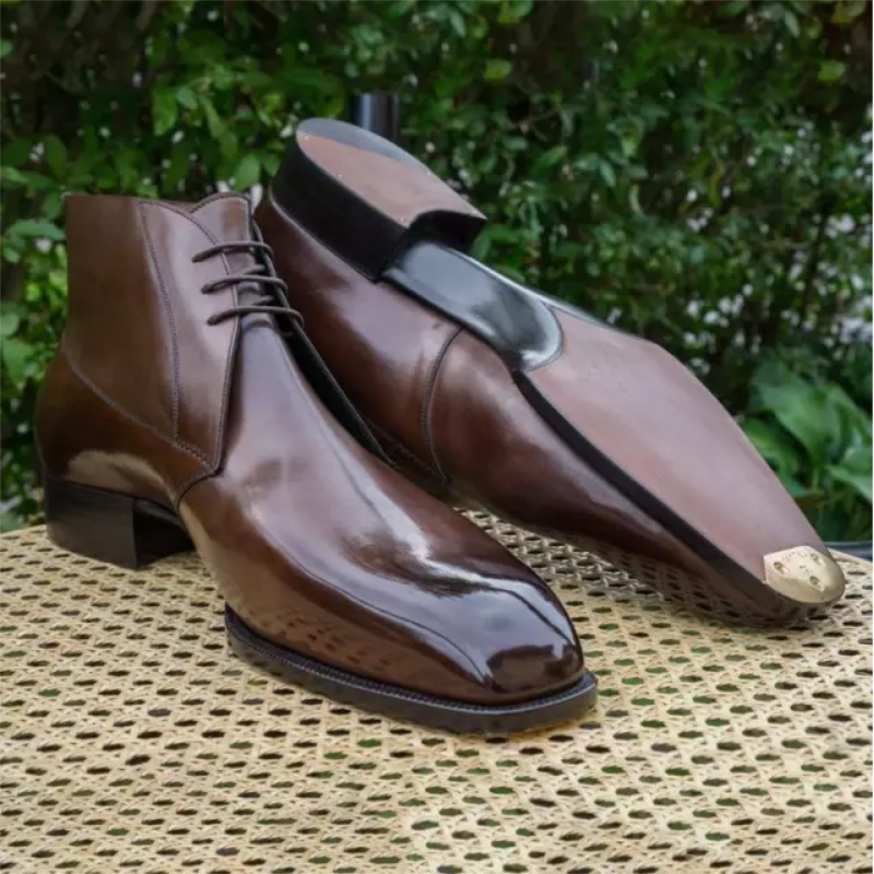 Handsome Men's High-top Leather Shoes Pointed Toe Leather  Spring and Autumn Summer Hair Stylist Mar