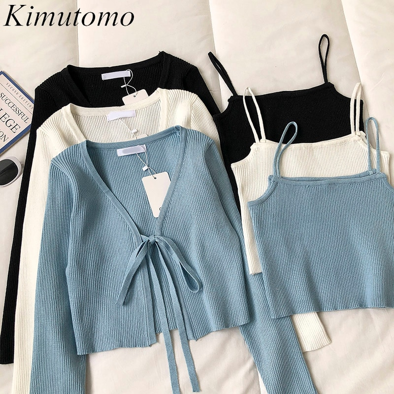 Kimutomo Casual Fasion 2 Piece Set Women Solid V-neck Long Sleeve Lace Up Short Knitted Cardigan and Camis Knitwear Elegant