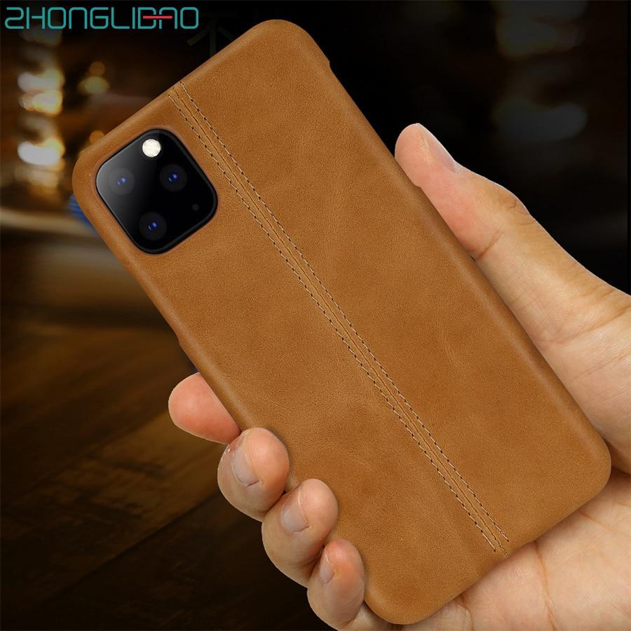 Funda de empalme para Iphone 11 Pro X Xs Max Xr8 7 6 6s Plus, funda trasera de cuero genuino de costura de lujo para Iphone 11 Pro Max