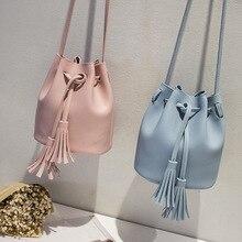 2020 New Small Shoulder Messenger Bags for Women  Bag Fashion Tassel Drawstring Bucket  Bag Female Travel Mini Bags