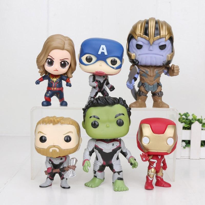 6pcs/set Marvel Avengers figure toys Q Thanos Iron man Spider man Captain American Hulk Figure Model Toys