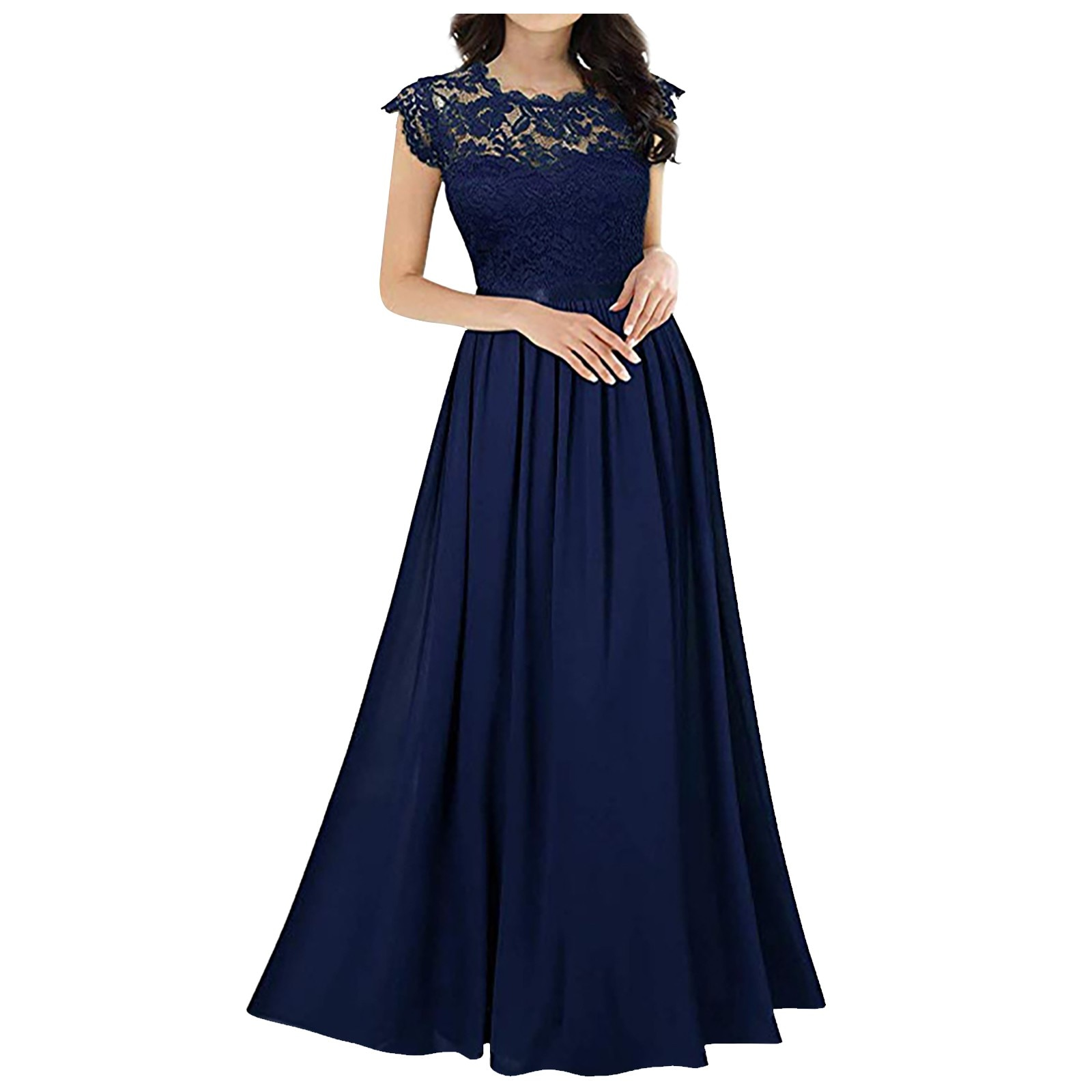 Chiffon Dress Lace Stitching Dress Bridesmaids Elegant Solid Color Dress Evening Gowns Woman Dress �