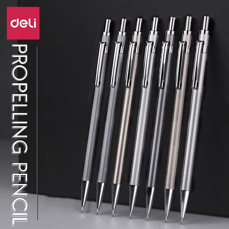 Карандаш механический Deli, металлический карандаш 0,5/0,7 мм с резиновым стержнем, пишущий карандаш для рисования, Детская Канцелярия