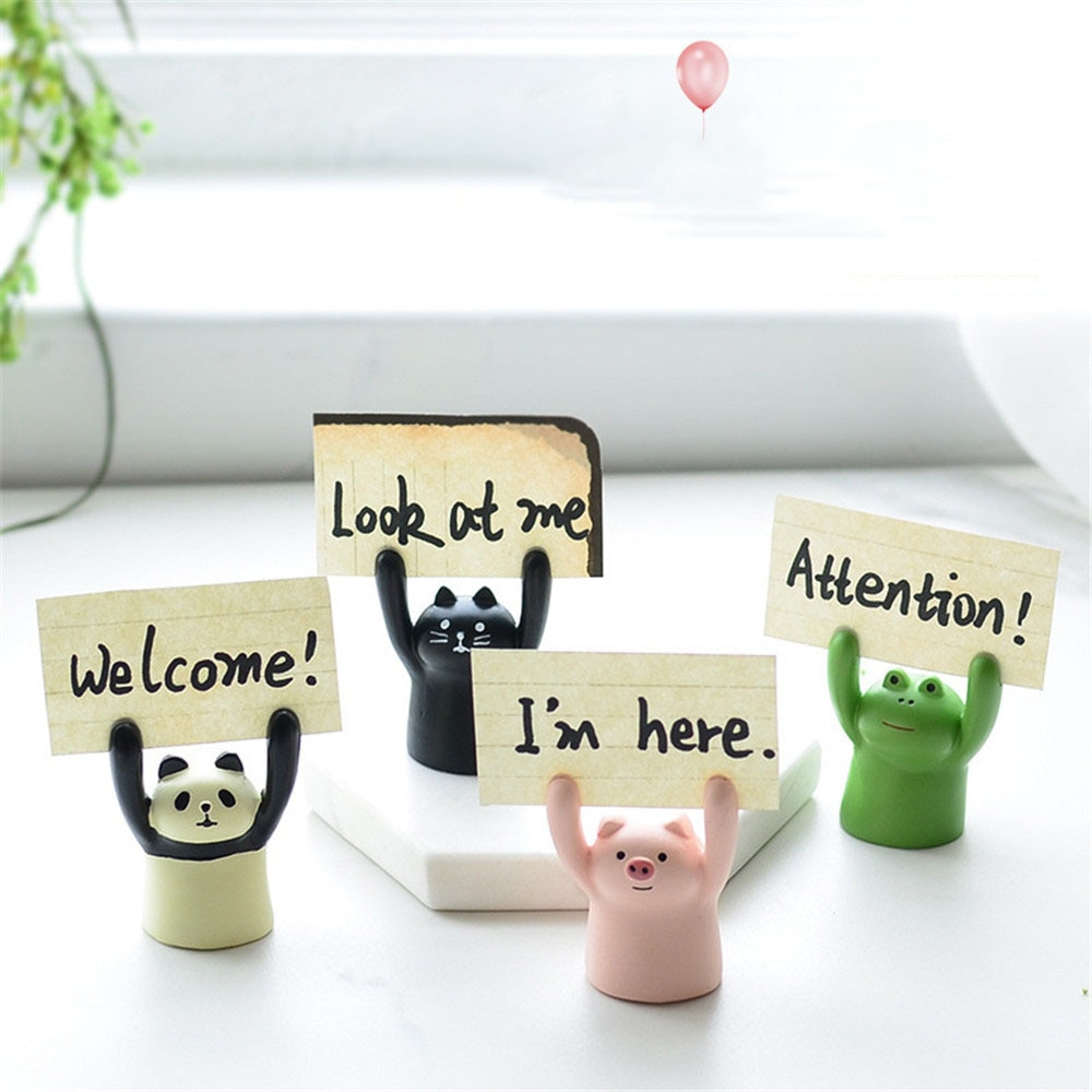 Lindo dibujo de cerdo Panda gato Rana Memo titular de la tarjeta soporte de la foto adorable Kawaii decoración de la torta titular de la tarjeta organizador de escritorio