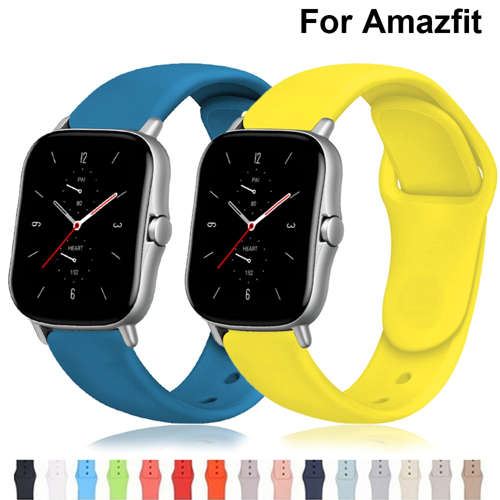 20mm/22mm watch strap For Amazfit GTS/2e/GTS2/GTR 42mm/47mm/stratos 2/3 silicone band sport bracelet Amazfit bip/pace watchband