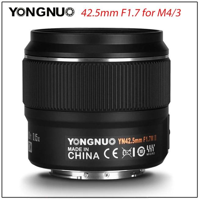 YONGNUO-عدسة كاميرا YN42.5mm F1.7M II ، عدسة F1.7 لكاميرا باناسونيك أوليمبوس M4/3 ، تركيز تلقائي بدون مرآة ، 42.5 مللي متر