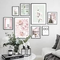 Mode rose Paris tour romantique fleurs Art maison toile peinture nordique affiches et impressions photos murales pour salon decor