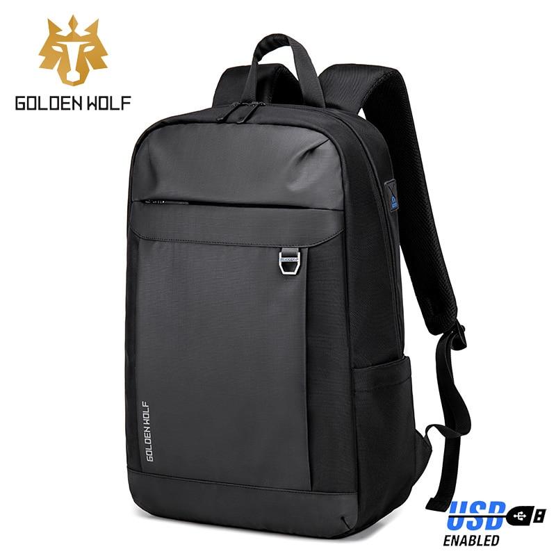 Мужской рюкзак для ноутбука GOLOEN WOLF, черный водонепроницаемый рюкзак-светильник унисекс для подростков