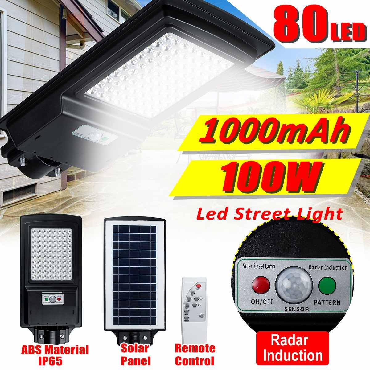 Lámpara de pared de inducción con Radar, 100W, 80 farola Solar LED, IP65, 1000mAh, lámpara de jardín, focos de luz Led blanca, farola