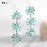 2021 new korean sunflower crystal earrings fashion daisy flower crystal tassel drop dangle earrings for women girls jewelry