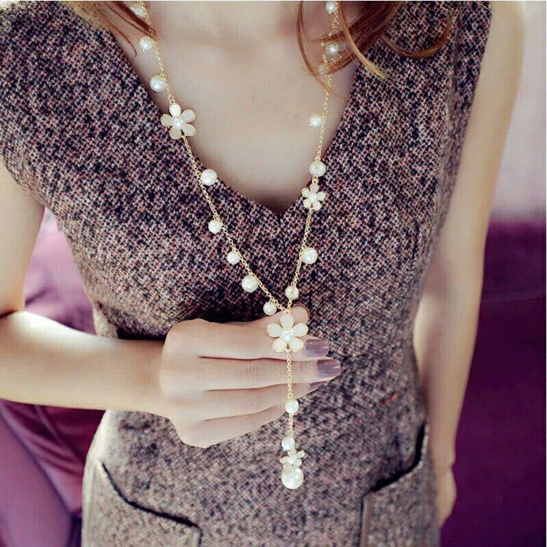 Nuevo collar largo de doble capa de perlas simuladas mujeres suéter collar de cadena para mujer Collares declaración joyas al por mayor 2019