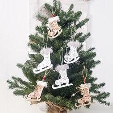 Patins de neige décoratifs 3 pièces   Flocons de neige peints de noël, décorations darbre suspendues, patins en bois, chaussures de Ski suspendues, noël pour la maison, bricolage