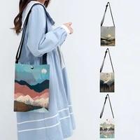 nordic moutain crane print small shoulder bag women ladies handbag teenager mini messenger bags crossbody bag teender beach bags