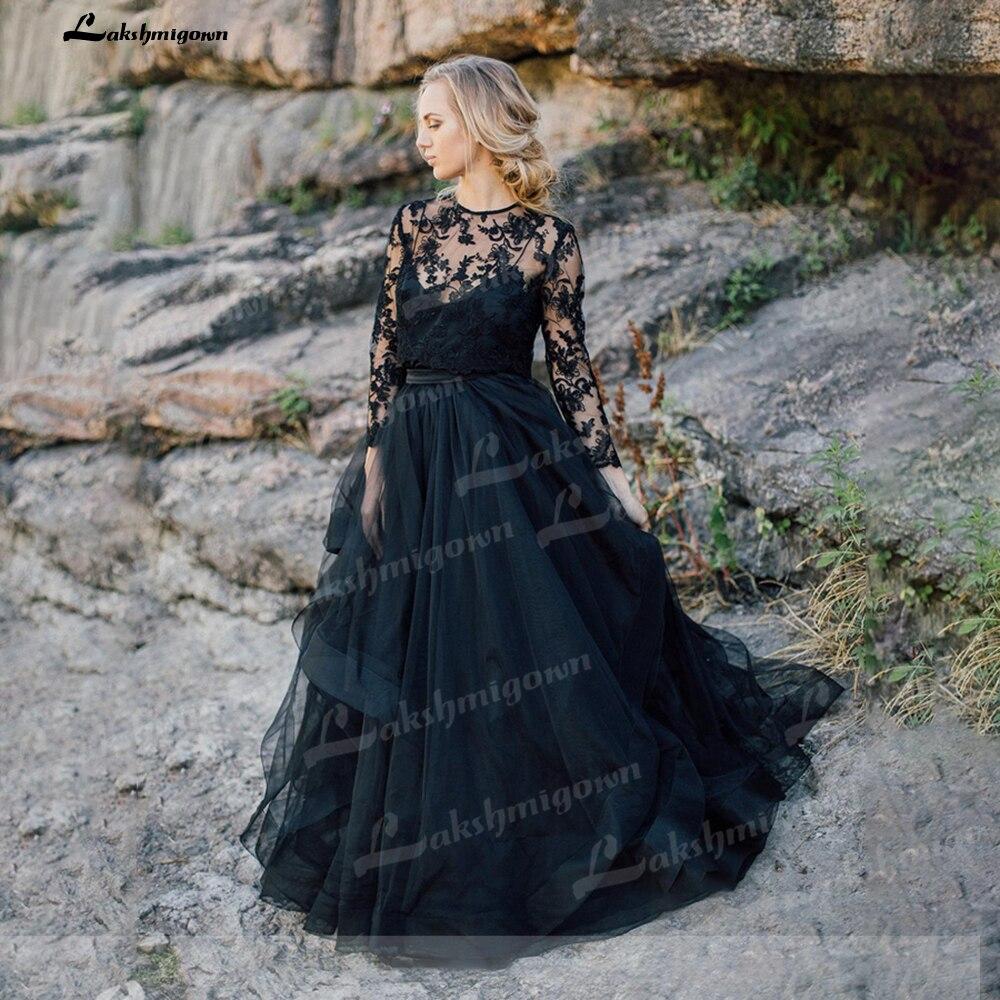 Vestido de novia negro de manga larga, chaqueta de encaje extraíble