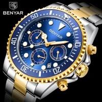 benyar mens casual sport watch top brand luxury army military mens wrist watch stainless steel clock relogio masculino