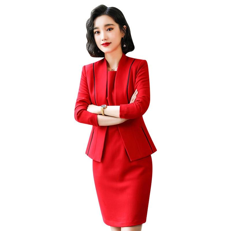 Black Red female elegant womans office blazer dress jacket suit ladies office wear sets costumes business dresses 2piece set