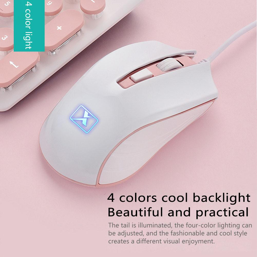 Portable Retro Pink Keyboard Mouse Kit Wired Steampunk Gaming Keyboard with Round Key Cap Multimedia Button Keyboard Mouse Set enlarge