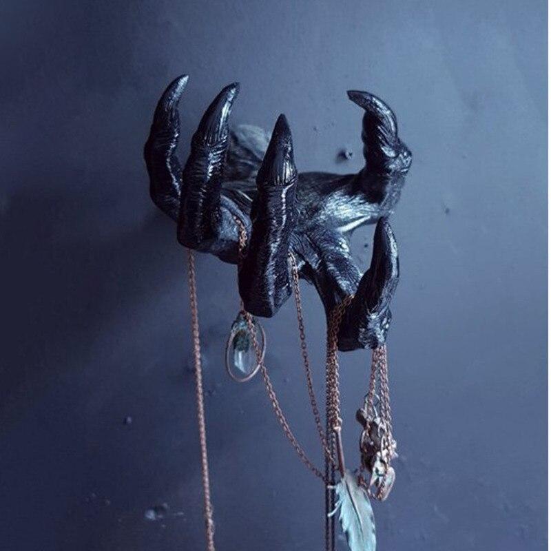2 نمط الساحرة اليد التماثيل الشيطان العين الجدار الشنق ثلاثية الأبعاد الراتنج الفن الحائط معلقة الدعائم الإبداعية العالمي هوك هالوين