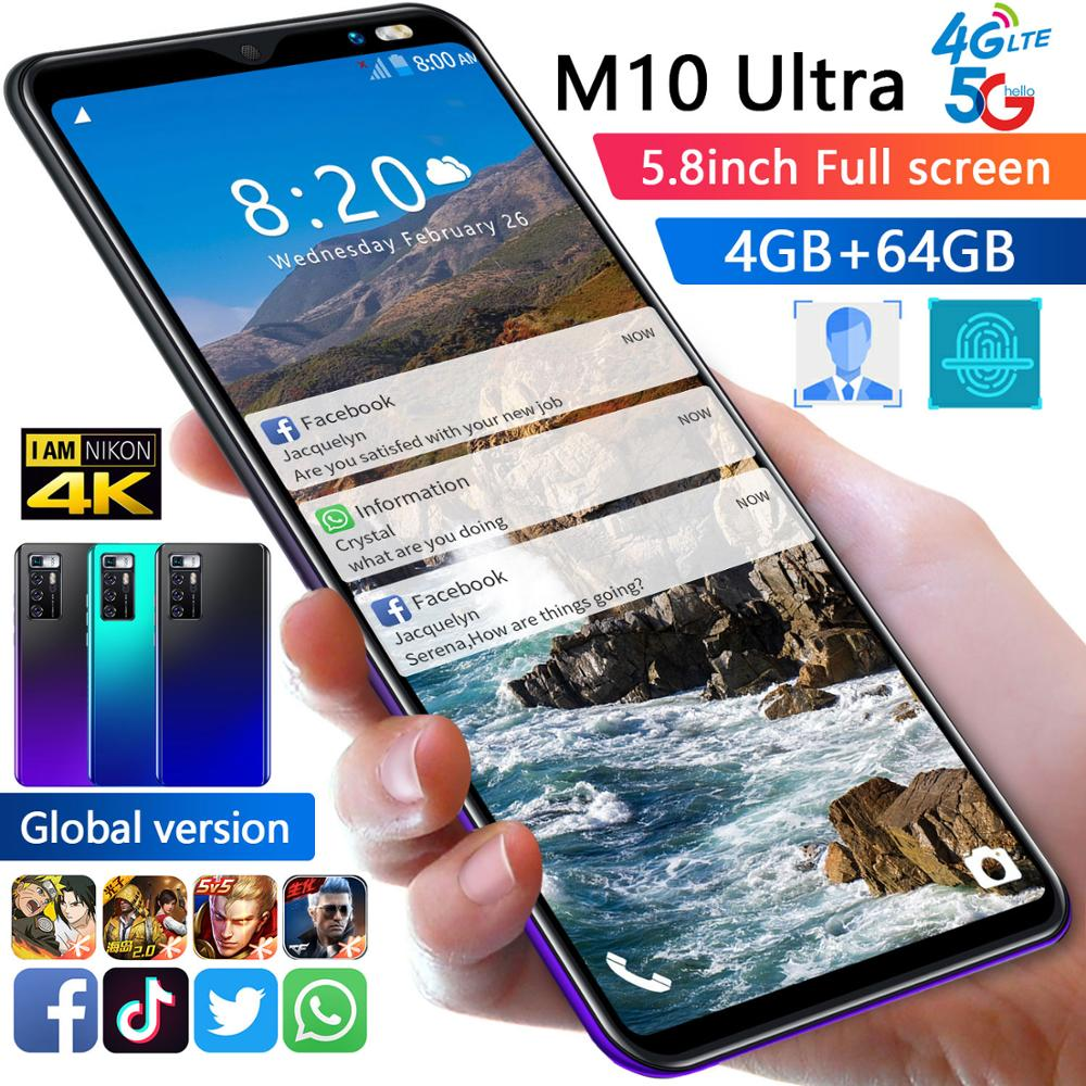 TEMK M10 Ultra 5G Smartphone 5.8 HD Android 10 4GB RAM 64GB ROM 8+16MP Camera 8 Core Dual SIM 4800mAh Unlock WiFi CellPhone