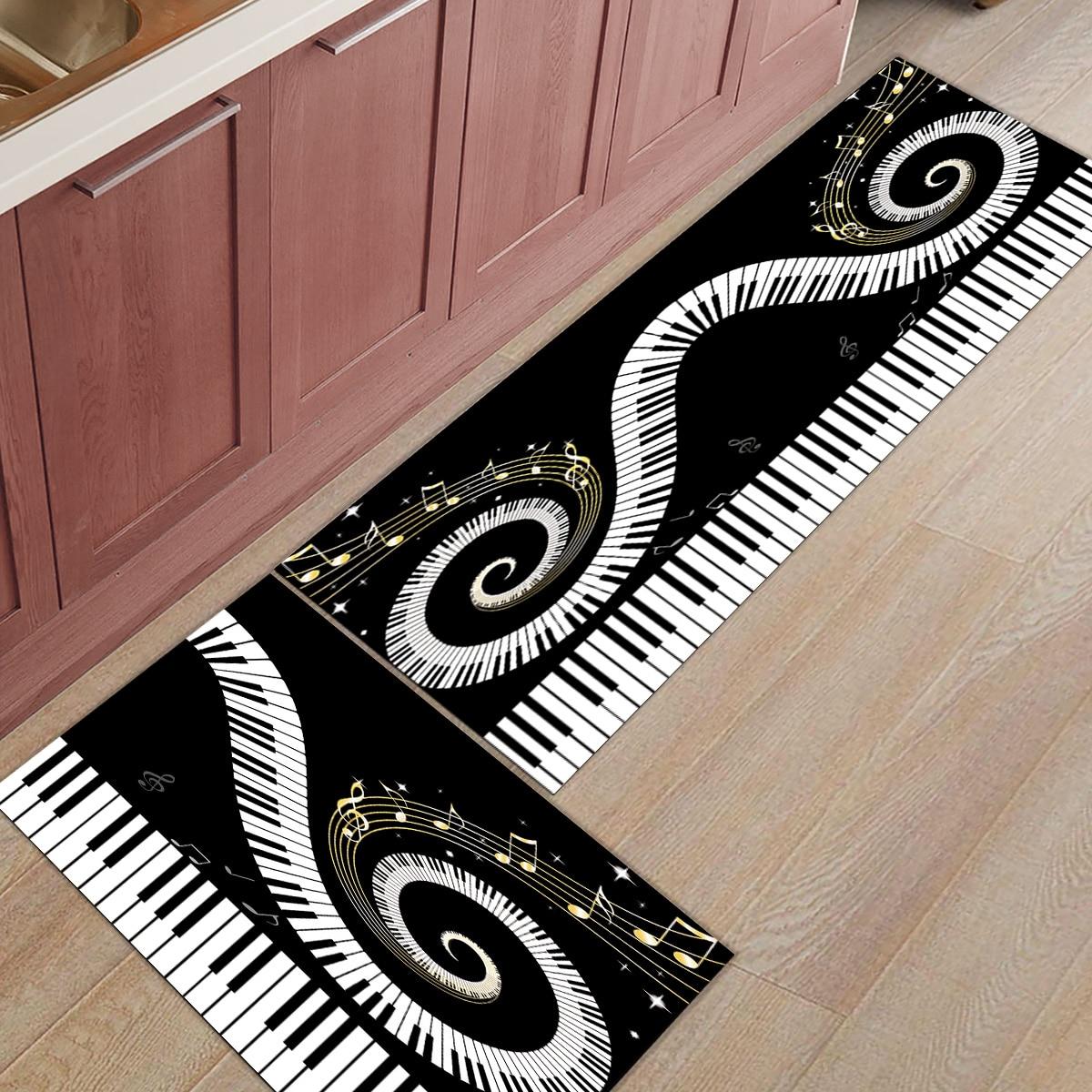 2Pcs/Set Piano Keys Staff Swirl Black White Kitchen Mat Modern Carpet Entrance Doormat Tapete Rugs Bedroom Mats Home Decor