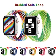 New Braided Solo Loop Nylon fabric Strap For Apple Watch band 44mm 40mm 38mm 42mm Elastic Bracelet for iWatch Series 6 SE 5 4 3