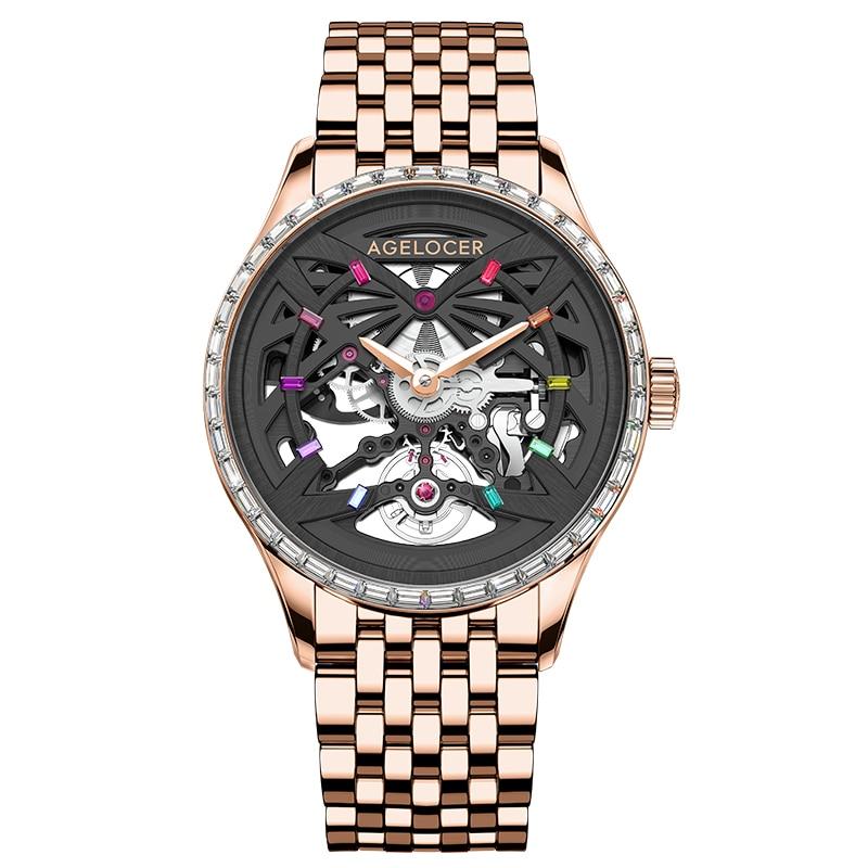 AGELOCER ساعات آلية الرجال الياقوت الهيكل العظمي الماس الذهب ساعة مقاوم للماء 41 مللي متر الساعات للرجال سوار ساعة Reloj Hombre
