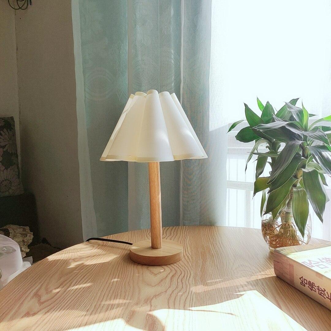 Xianfan-مصباح من الخشب الصلب على الطراز الكوري PVC ، مصباح طاولة ، عمل ، مكتب ، ريترو