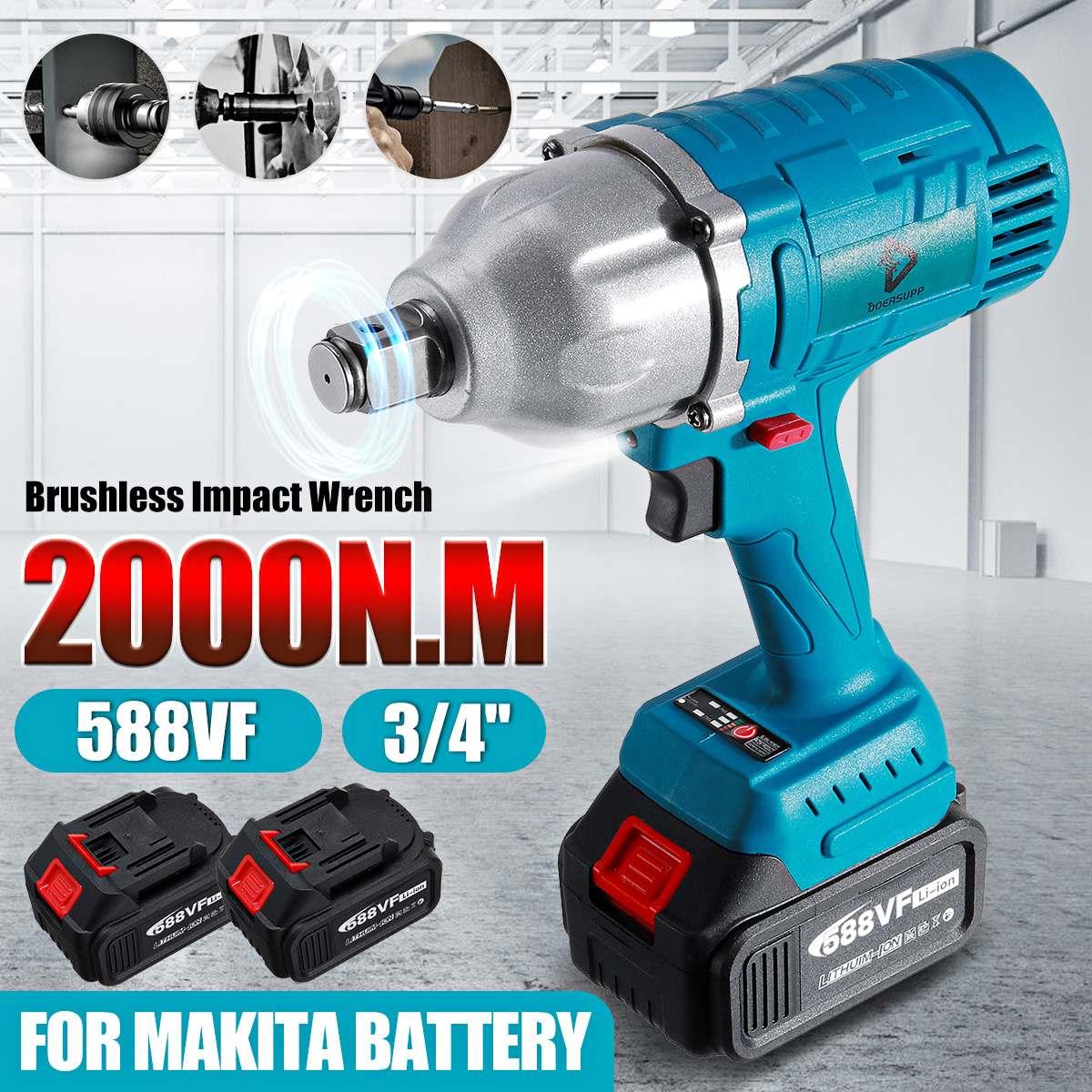REAL 2000N.M لاسلكي مفتاح برغي كهربائي 3/4 بوصة مقبس أدوات كهربائية 588Vf بطارية ليثيوم + مصباح ليد مناسب مع بطارية ماكيتا 18 فولت