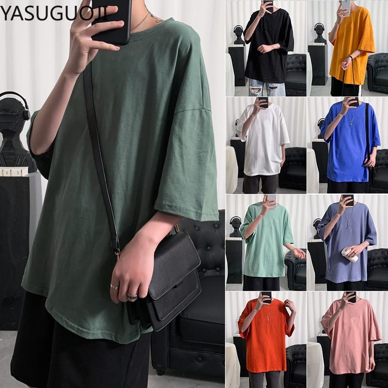 YASUGUOJI Plain Oversized T Shirt Men Bodybuilding and Fitness Loose Casual Lifestyle Wear T-shirt Male Streetwear Hip-Hop Tops