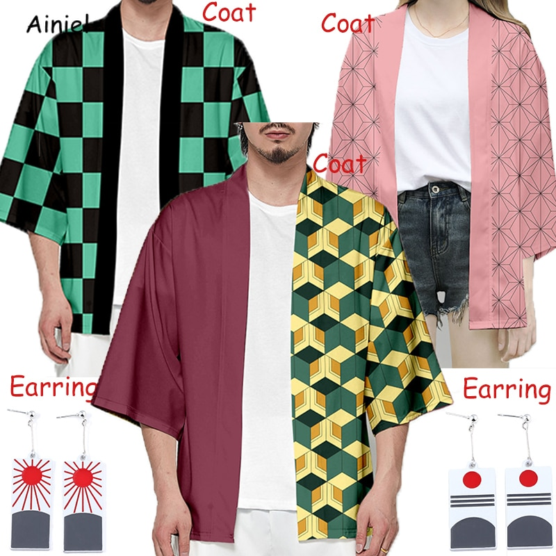 Demonio Kimono Kamado Nezuko abrigo Rosa pendiente de cazador de demonios: Kimetsu no Yaiba Cosplay traje Tomioka Giyuu chaquetas de los hombres de Halloween