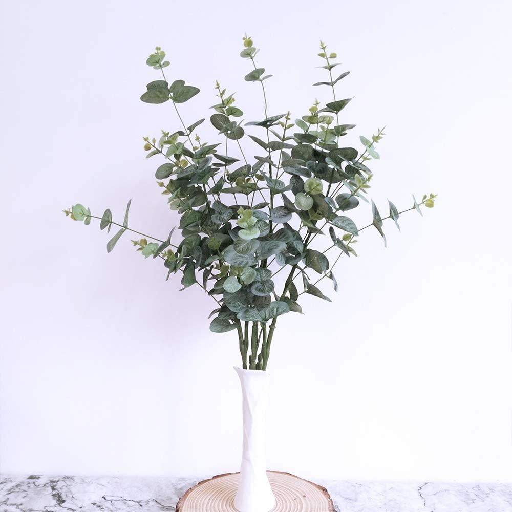 3 unidades de hoja de eucalipto Artificial plata yuan planta decoración de la boda decoración del hogar ramas artificiales verdes