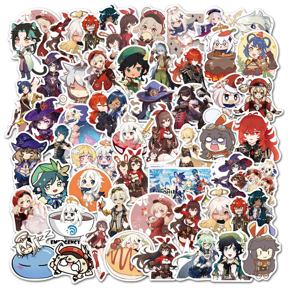 10-50-pz-set-genshin-impact-cartoon-open-world-game-adesivi-per-laptop-moto-skateboard-custodia-da-viaggio-custodia-per-telefono