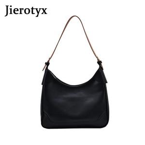 JIEROTYX Trendy Women's Bag Shoulder Bags 2020 New Fashion Casual Soft Strap Leather Shoulder Bag Chic Crossbody Bag